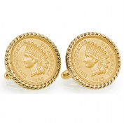 UPM Global LLC 12769 Gold-Layered 1859 First-Year-of-Issue Indian Head Penny Goldtone Rope Bezel Cuff Links