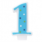 Deco Pac 222465 Blue number 1 Candle with Polka Dots