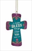 P. Graham Dunn 107844 Car Charm Cross The Lord Bless You With Chain 2.75 x 4