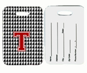 Carolines Treasures CJ1021-T-BT Monogram - Houndstooth Black Initial T Monogram Initial Luggage Tag Pair - 2