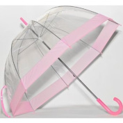 Elite Rain Frankford RB01-PK Clear Bubble Umbrella Pink Trim