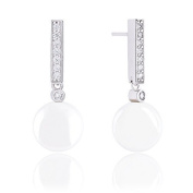 18k Gold Plated Round Shell Pearl with Cubic Zirconia Accented Drop Earrings