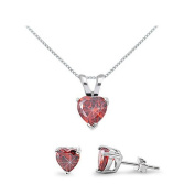Sterling Silver Simulated Red Garnet Heart Necklace & Earrings Set - 41cm to 46cm