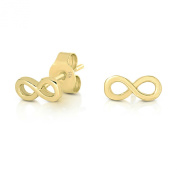 14K Yellow Gold or Rhodium Plated 925 Sterling Silver Mini Infinity Symbol Plain Silver Stud Earrings