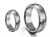 His & Her's 8MM/6MM Polished Shiny Domed With Brush Centre Tungsten Carbide Wedding Band Ring Set