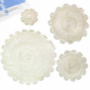 kilofly Handmade Crochet Round Cotton Lace Table Placemats Doilies Assorted Value Pack [Set of 4], Medallion, Beige