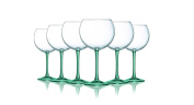 Aqua Balloon Wine Glass with Beautiful Fun Coloured Stems - 590ml set of 6- Additional Vibrant Colours Available