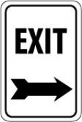 Olympia Sports SF816P 30cm . x 46cm . Sign - Exit - Right Arrow