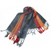Blancho Bedding Pa-a82-7 Multi-Colours Rose & Paisley National Style Exquisite Soft Tassel Ends Pashmina/Shawl/Scarf