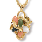 PalmBeach Jewellery 9141_ 1/4 TCW Oval Shaped Multi-Gemstone Crystal Accent Goldtone Metal Drop Pendant and Chain 18