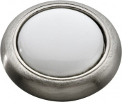 Hickory Hardware P709-SNW 3cm . Tranquilly Satin Nickel with White Cabinet Knob