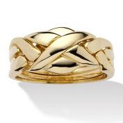 PalmBeach Jewellery 458587 14k Yellow Gold-Plated Interwoven Puzzle Ring Size 7