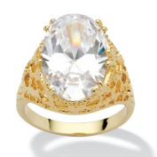PalmBeach Jewellery 149548 9.32 TCW Oval Cut Cubic Zirconia 14k Yellow Gold-Plated Textured Cocktail Ring Size 8