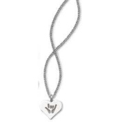 Harris Communications N176S ILY Solid Heart Necklaces