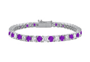 Fine Jewellery Vault UBBR10WRD131700CZAM Amethyst and Cubic Zirconia Prong Set 10K White Gold Tennis Bracelet 7 CT TGW