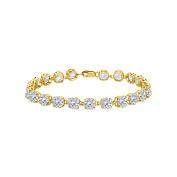 Fine Jewellery Vault UBBR55AGVYCZ 18K Yellow Gold Vermeil Prong Set Round Cubic Zirconia Bracelet 12 CT TGW April Birthstone