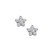 Fine Jewellery Vault UBNER40433W14D April Birthstone Diamonds 6 Stone Cluster Earrings in 14K White Gold
