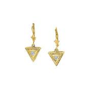Fine Jewellery Vault UBNER40181Y14D April Birthstone Diamonds Triangular Earrings in 14K Yellow Gold