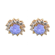 Fine Jewellery Vault UBUER1191Y14CZTZ December Birthstone Tanzanite with CZ Earrings in 14K Yellow Gold