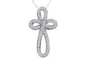 Fine Jewellery Vault UBPDR715W14D Diamond Ribbon Loop Cross Necklace in 14K White Gold 0.55 Carat Diamonds