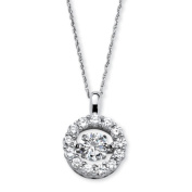 PalmBeach Jewellery 55391 Platinum over Sterling Silver 1.76 TCW Cubic Zirconia Circle Pendant Necklace