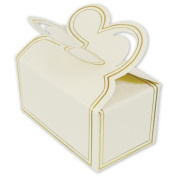 Deluxe Small Business Sales 291-341212-9 1.5 x 3.8cm x 7cm . Two-Piece Petal Style Truffle Boxes White