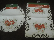 Tapestry Trading FQ32187-16-2PK 41cm . Embroidered Christmas Tri Poinsettia Cutwork Placemats