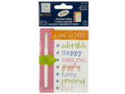 Bulk Buys CG390-96 Baby Girl Chipboard Slider With Glitter Accents