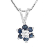 Luis Creations PRL1305SD 0.24 Ct. Flower Cluster Diamond And Sapphireh Pendant 14K Gold
