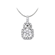 Fine Jewellery Vault UBNPD32200W14CZ Uniquely Designed Cubic Zirconia Pendant in 14K White Gold with a Free 41cm . Chain
