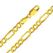Precious Stars SEC0156220 Yellow Gold 4.4 mm. Figaro Chain 22 in. Necklace