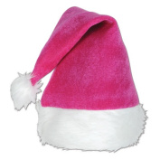 Beistle 20731-P Pink Velvet Santa Hat With Plush Trim Pack Of 12
