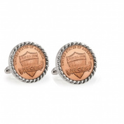 UPM Global LLC 12708 Lincoln Union Shield Penny Silvertone Rope Bezel Cuff Links