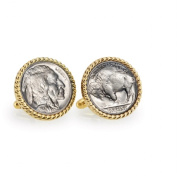 UPM Global LLC 12720 Buffalo Nickel Goldtone Rope Bezel Cuff Links