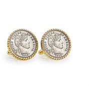 UPM Global LLC 12737 1800s Silver Barber Dime Goldtone Rope Bezel Cuff Links