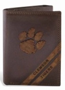 ZeppelinProducts CLE-IWD2-BRW Clemson Trifold Debossed Leather Wallet
