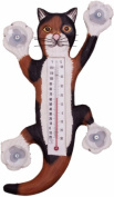 Songbird Essentials Climbing Calico Cat Large Window Thermometer
