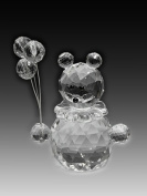 Asfour Crystal 201-2 1.61 L x 2.75 H in. Crystal Bear With Balloons Animals Figurines