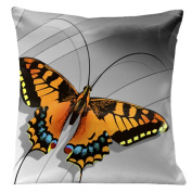 Lama Kasso 0210 Large Butterfly on a Silver Transitioning to Black Background 46cm . Square Satin Pillow