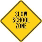 Olympia Sports SF336P 60cm . x 60cm . Aluminium Sign - Slow School Zone - Yellow