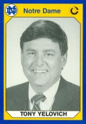 Autograph Warehouse 91210 Tony Yelovich Football Card Notre Dame 1990 Collegiate Collection No. 79