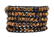 Womens Long Leather Tiger Eye Stone Beads Love Heart Buckle Wrap Around Bracelet