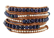 Long Dyed Black Freshwater Cultured Pearl Silver Tone Alloy Beaded Wrap Bracelet, 100cm