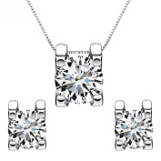 EleQueen 925 Sterling Silver 0.7 Carat Round CZ Necklace Earrings Jewellery Set