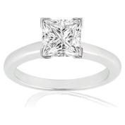 3/4 Carat Princess Cut Diamond Solitaire Engagement Ring 14K White Gold V Prong (J, I1, 0.74 c.t.w) Very Good Cut