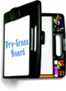 Officemate Dry-Erase Portable Clip Board Box With 4 Compartments And Carry Handle - Charcoal