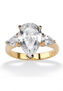 PalmBeach Jewellery 509285 4.89 TCW Pear Cut Cubic Zirconia 18k Gold-Plated 3-Stone Bridal Engagement Ring Size 5
