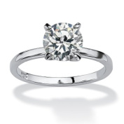 PalmBeach Jewellery 6425_5 2 TCW Round Cubic Zirconia Solitaire Engagement Anniversary Ring in Sterling Silver Size 5