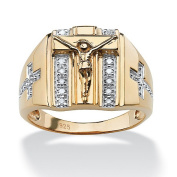PalmBeach Jewellery 4861713 Mens 1/10 TCW Round Diamond Crucifix and Cross Ring in 18k Gold over Sterling Silver Size 13
