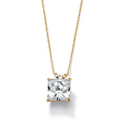 PalmBeach Jewellery 48919 2.12 TCW Princess-Cut Cubic Zirconia Solitaire Pendant Necklace in 10k Gold